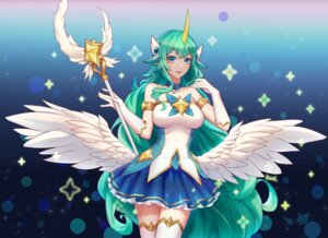 Rating: Safe Score: 13 Tags: animal_ears horns kezi league_of_legends soraka thighhighs weapon wings User: charunetra