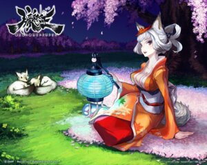 Rating: Safe Score: 38 Tags: animal_ears cleavage kimono kongiku oboro_muramasa shigatake wallpaper User: tusso