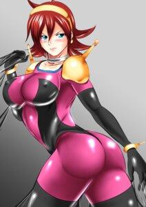 Rating: Questionable Score: 10 Tags: armor ass bodysuit erect_nipples g_gundam gundam kogawa_waki rain_mikamura User: Werewolverine4