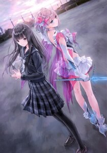 Rating: Safe Score: 85 Tags: blue_reflection gust_(company) heels heterochromia kishida_mel no_bra saiki_yuri seifuku shirai_hinako sword User: NotRadioactiveHonest