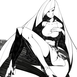 Rating: Safe Score: 14 Tags: breast_hold dress heels lusamine monochrome pantyhose pokemon yan_wan User: charunetra