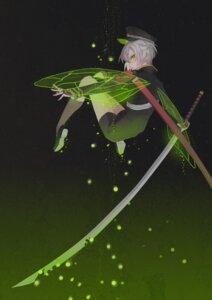 Rating: Safe Score: 14 Tags: hotaru_maru male rourou_(wujingyiyinshi) sword touken_ranbu uniform wings User: charunetra