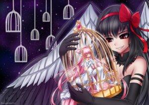 Rating: Safe Score: 18 Tags: akemi_homura cleavage dress heels kaname_madoka puella_magi_madoka_magica racoon thighhighs ultimate_madoka wings User: Mr_GT