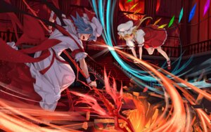 Rating: Safe Score: 15 Tags: asu_tora dress flandre_scarlet remilia_scarlet touhou weapon wings User: Mr_GT