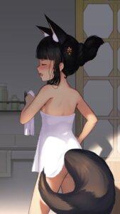 Rating: Questionable Score: 18 Tags: animal_ears ass azur_lane dalian_(1457091741) kitsune nagato_(azur_lane) tail towel User: Mr_GT