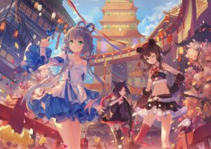 Rating: Safe Score: 100 Tags: animal_ears criin crossover dress luo_tianyi nekomimi stockings tail thighhighs tianxia vocaloid yuezheng_ling User: Mr_GT
