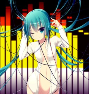 Rating: Questionable Score: 50 Tags: bottomless dress_shirt hatsune_miku headphones no_bra open_shirt papino vocaloid User: Mr_GT