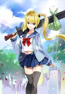Rating: Safe Score: 44 Tags: chushengdao kaku-san-sei_million_arthur seifuku sword thighhighs weapon User: gogotea28