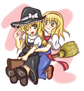 Rating: Safe Score: 5 Tags: alice_margatroid kirisame_marisa shi_ecchi touhou User: konstargirl
