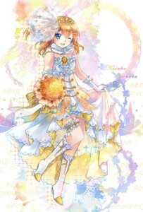 Rating: Safe Score: 23 Tags: dress ekita_gen garter heels kousaka_honoka love_live! skirt_lift stockings thighhighs wedding_dress User: KazukiNanako