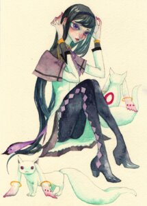 Rating: Safe Score: 4 Tags: akemi_homura kyubey momongoh pantyhose puella_magi_madoka_magica watercolor User: Radioactive