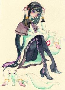 Rating: Safe Score: 5 Tags: akemi_homura kyubey momongoh pantyhose puella_magi_madoka_magica watercolor User: Radioactive