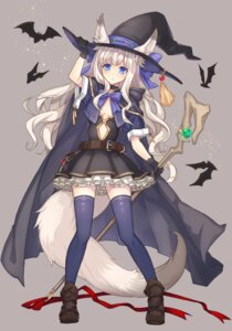 Rating: Safe Score: 60 Tags: animal_ears dress no_bra riffey tail thighhighs weapon witch User: Mr_GT