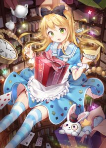 Rating: Safe Score: 29 Tags: alice alice_in_wonderland dress sigi skirt_lift thighhighs User: BattlequeenYume