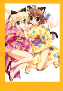 Rating: Questionable Score: 30 Tags: animal_ears fujima_takuya nekomimi nopan tail yukata User: crim