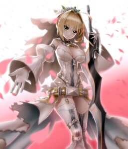 Rating: Safe Score: 74 Tags: cleavage fate/extra fate/extra_ccc fate/stay_night kurobuchi_numama leotard saber_bride saber_extra stockings sword thighhighs torn_clothes User: Mr_GT