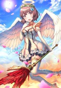 Rating: Safe Score: 21 Tags: angel cleavage dress heels miya_(tokumei) stockings thighhighs weapon wings User: Dreista