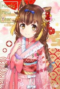 Rating: Safe Score: 33 Tags: animal_ears kimono omelet_tomato User: Mr_GT