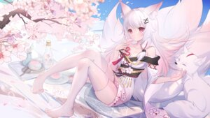 animal_ears cleavage feet japanese_clothes kitsune no_bra skirt_lift somna tail thighhighs #1313