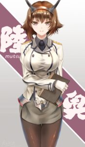 Rating: Safe Score: 47 Tags: aiovia kantai_collection mutsu_(kancolle) pantyhose uniform User: mash