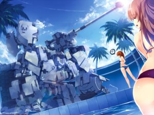 Rating: Questionable Score: 37 Tags: bikini gun mecha swimsuits windforcelan User: 椎名深夏
