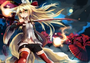Rating: Safe Score: 64 Tags: animal_ears bike_shorts haik kitsune kokonoe_tsubaki sword tail thighhighs User: Assreaver