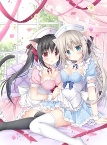 Rating: Questionable Score: 46 Tags: animal_ears cleavage korie_riko nekomimi nurse skirt_lift symmetrical_docking tail thighhighs User: hiroimo2