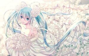 Rating: Safe Score: 37 Tags: cleavage dress hatsune_miku shijuu_hachi vocaloid wedding_dress User: KazukiNanako