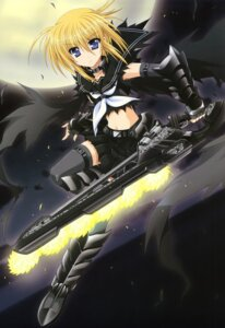 Rating: Safe Score: 32 Tags: armor chainsaw higa_yukari mahou_senki_lyrical_nanoha_force mahou_shoujo_lyrical_nanoha quinn_garland seifuku sword thighhighs User: drop
