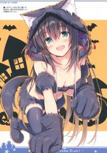 Rating: Questionable Score: 27 Tags: animal_ears bra halloween nekomimi nozomi_tsubame tail thighhighs User: kiyoe