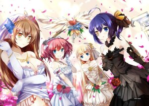 Rating: Questionable Score: 54 Tags: chuunibyou_demo_koi_ga_shitai! cleavage dekomori_sanae dress heterochromia nibutani_shinka shichimiya_satone takanashi_rikka wedding_dress xephonia User: fairyren