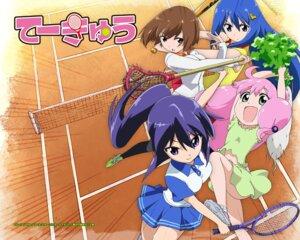 Rating: Safe Score: 14 Tags: bandou_marimo oshimoto_yuri shinjou_kanae_(teekyuu) takamiya_nasuno teekyuu tennis wallpaper User: akusiapa