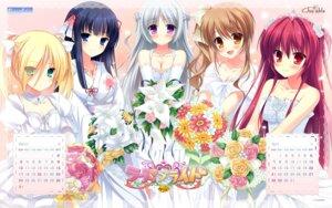 Rating: Safe Score: 18 Tags: calendar chuablesoft cleavage dress lovera_bride mikami_haruka mutou_kurihito omigawa_hitomi sakuranomori_misaki sasha_(lovera_bride) takano_yuki wallpaper wedding_dress yuki_nao User: blooregardo