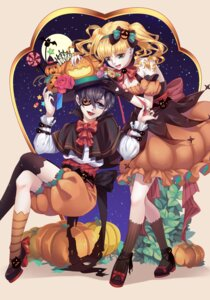 Rating: Safe Score: 7 Tags: ciel_phantomhive dress elizabeth_middleford eyepatch halloween kuroshitsuji sanquian_hui thighhighs User: charunetra
