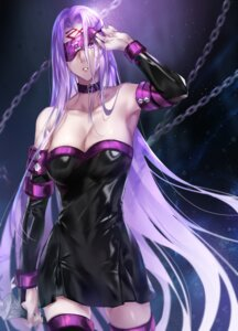 Rating: Questionable Score: 25 Tags: cleavage dress fate/stay_night muneomon_(takomon) no_bra rider tattoo thighhighs User: Mr_GT