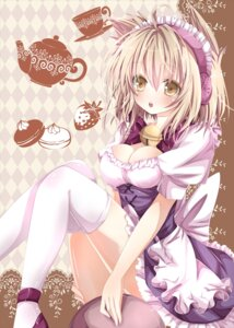 Rating: Safe Score: 42 Tags: cleavage maid nanase_nao thighhighs touhou toyosatomimi_no_miko User: Radioactive