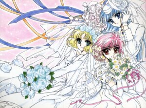 Rating: Safe Score: 6 Tags: clamp dress hououji_fuu magic_knight_rayearth ryuuzaki_umi shidou_hikaru wedding_dress User: Radioactive