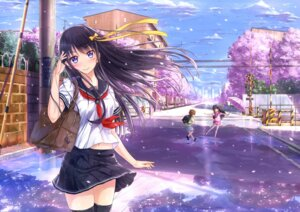 Rating: Safe Score: 99 Tags: kazeno landscape seifuku thighhighs User: zero|fade