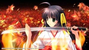 Rating: Safe Score: 20 Tags: arashiyama_ibuki kagura_douchuuki miko sword wallpaper yamamoto_kazue User: ichy