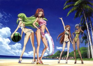 Rating: Questionable Score: 118 Tags: ass bikini c.c. cleavage code_geass heels kallen_stadtfeld shirley_fenette swimsuits viletta_nu User: PPV10