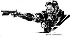 Rating: Safe Score: 18 Tags: big_boss_(metal_gear) eyepatch gun male metal_gear_solid_v:_the_phantom_pain monochrome shinkawa_yoji User: DDD