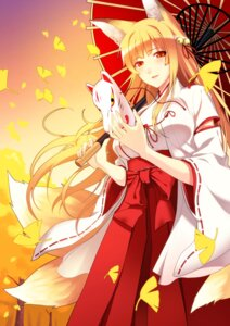 Rating: Safe Score: 51 Tags: animal_ears cut_(bu-kunn) kitsune miko tail umbrella User: Mr_GT