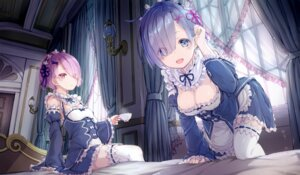 Rating: Questionable Score: 112 Tags: cleavage kato_roku maid ram_(re_zero) re_zero_kara_hajimeru_isekai_seikatsu rem_(re_zero) stockings thighhighs User: AltY