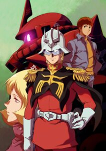 Rating: Safe Score: 10 Tags: amuro_ray char_aznable gundam gundam_the_origin mecha ms-06_zaku_ii nishimura_hiroyuki sayla_mass uniform User: saemonnokami
