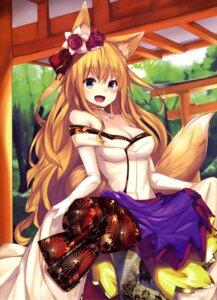 Rating: Safe Score: 40 Tags: animal_ears cleavage kitsune tail yoshizawa_megane User: drop