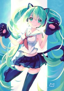 Rating: Safe Score: 62 Tags: animal_ears hatsune_miku neko_tanabata nekomimi seifuku tail thighhighs vocaloid User: Mr_GT