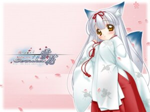 Rating: Safe Score: 7 Tags: kitsune miko nakajima_konta snow_fox wallpaper User: Radiosity