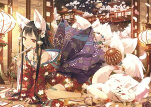 Rating: Questionable Score: 66 Tags: animal_ears cura kimono kitsune open_shirt possible_duplicate sarashi tail User: Twinsenzw