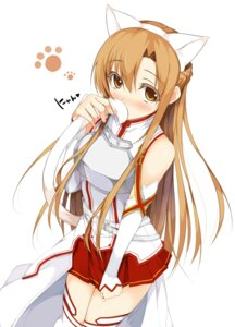 Rating: Safe Score: 78 Tags: animal_ears asuna_(sword_art_online) matatabi_haru nekomimi sword_art_online tail thighhighs User: fairyren