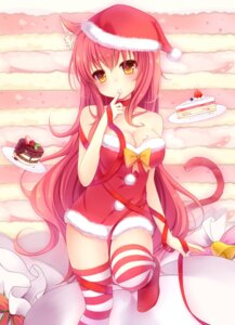 Rating: Safe Score: 76 Tags: animal_ears christmas cleavage cream dress nachi nekomimi tail thighhighs User: Zenex